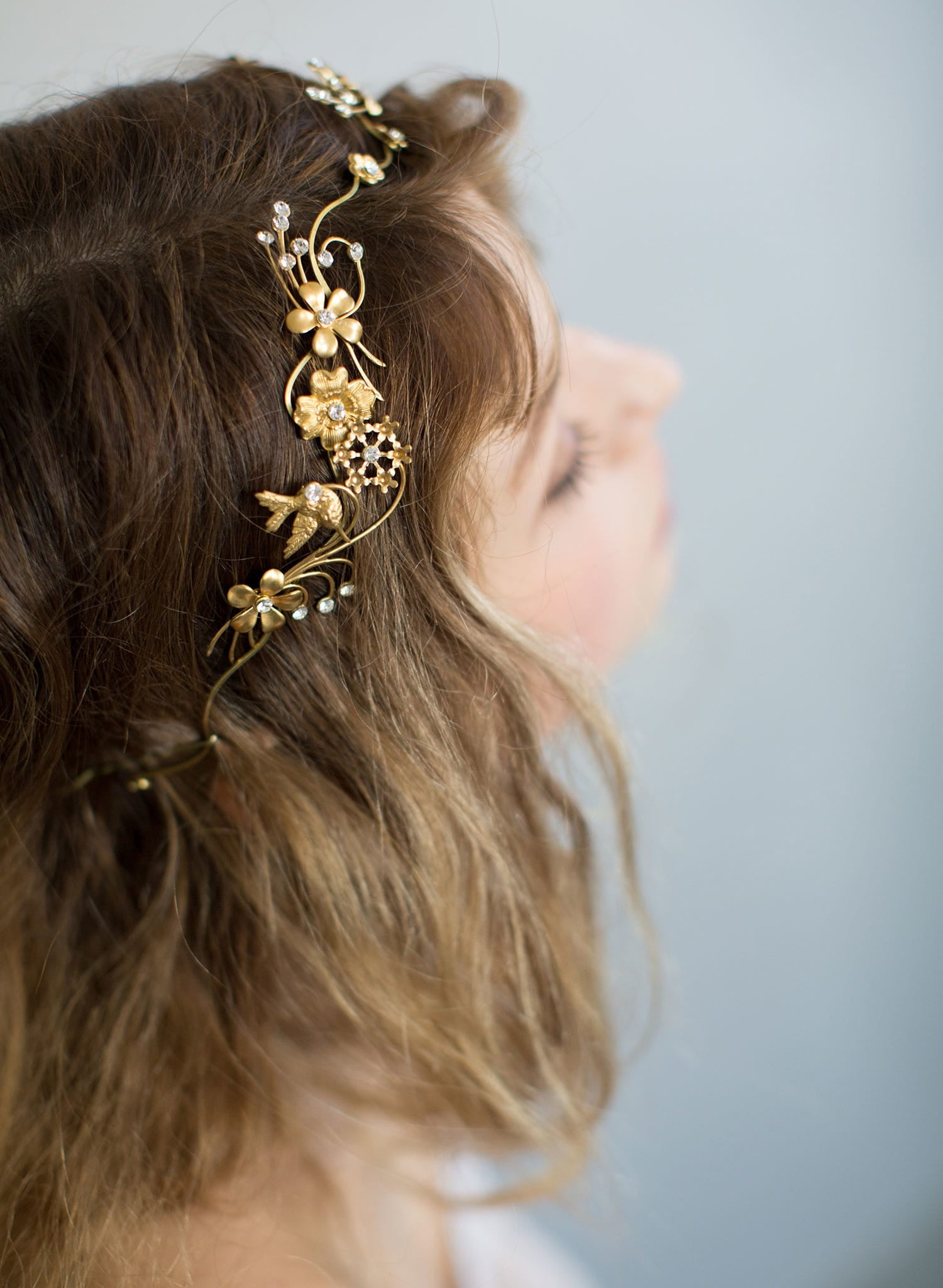 Br Bridal Headpieces Twigs And Honey -  floral brass headband bridal headpiece nature inspired wedding headpiece twigs and honey