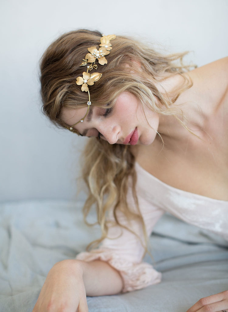 floral headband, boho headpiece, bridal headpiece, wedding accessory, nature inspired, twigs and honey