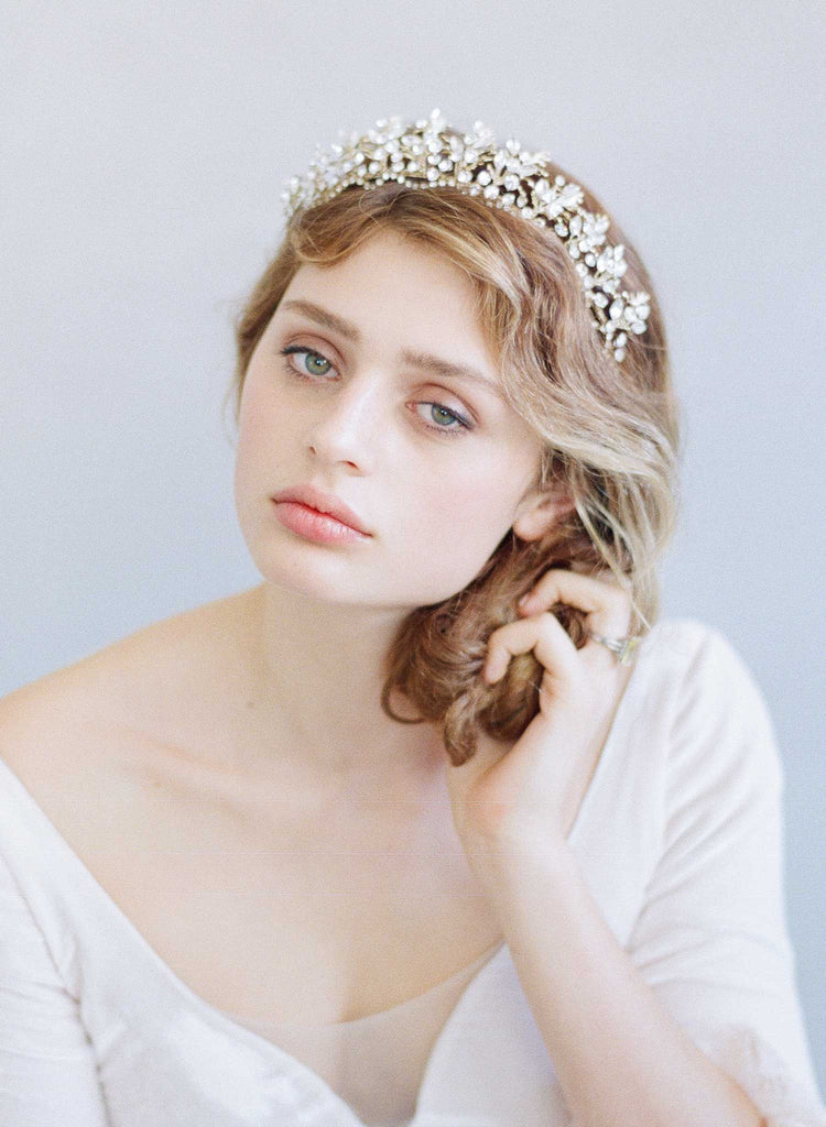 bridal tiara, crystal tiara, crystal and fern headpiece, bridal crown, vintage inspired, twigs and honey