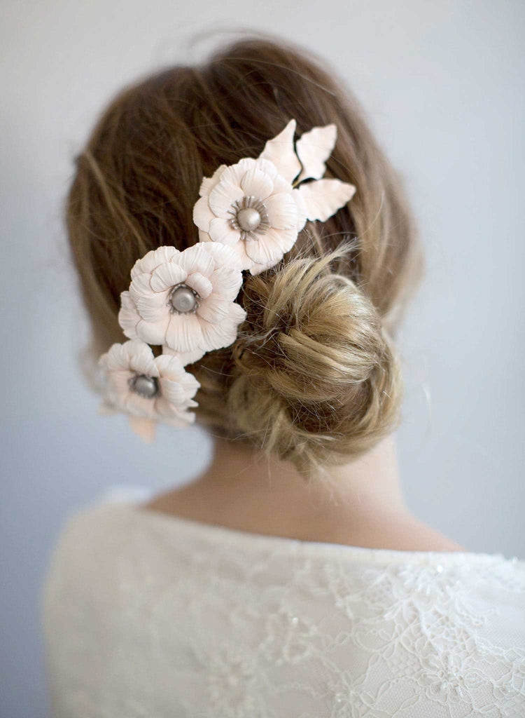 handmade clay flowers, bridal headpiece, bridal hair comb, floral comb, floral bridal heapiece, hair adornment, nature inspred, twigs and honey