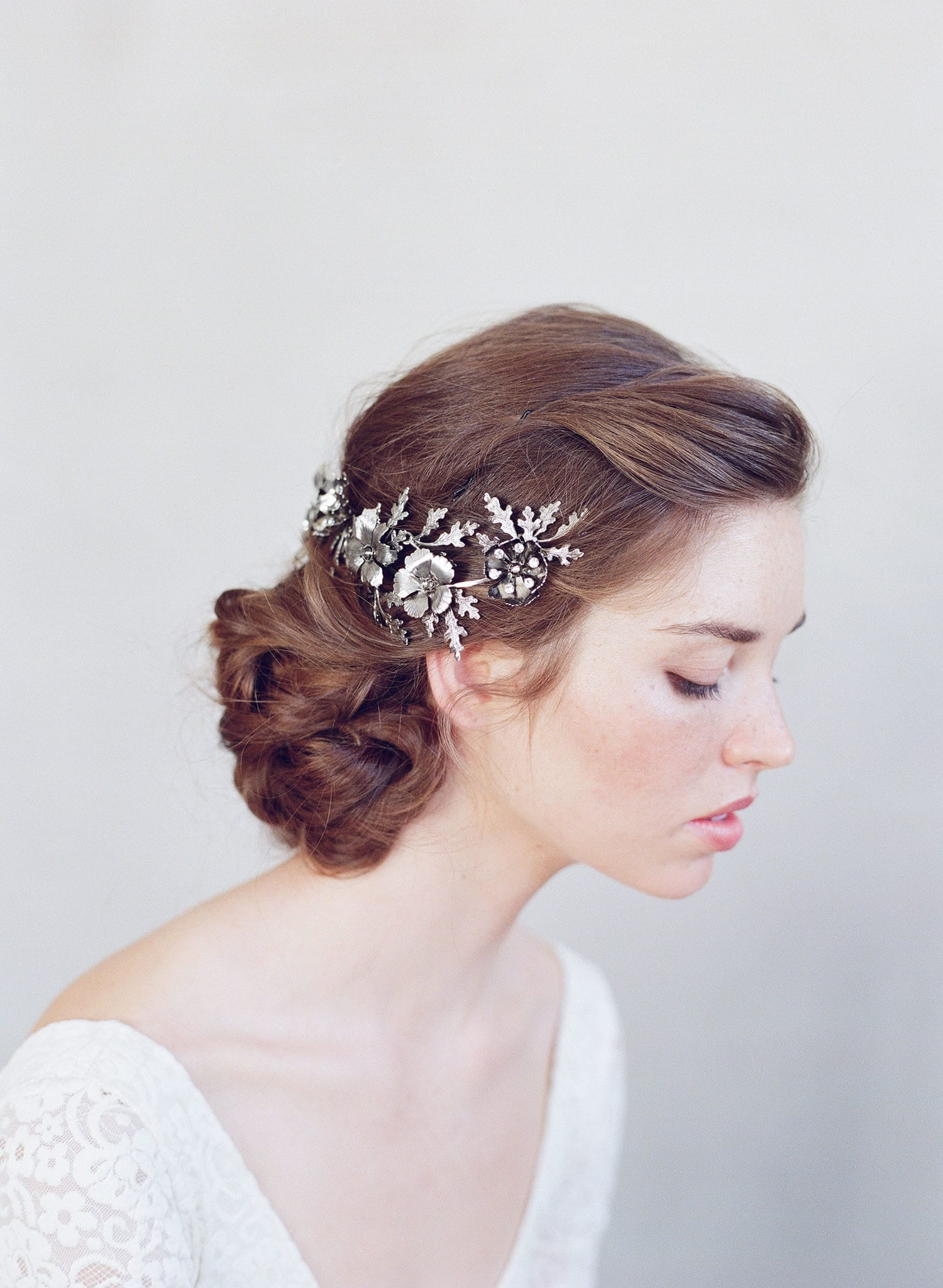 Bridal Headpiece Floral Wedding Accessory Plated Hair Adornment Nature Inspired