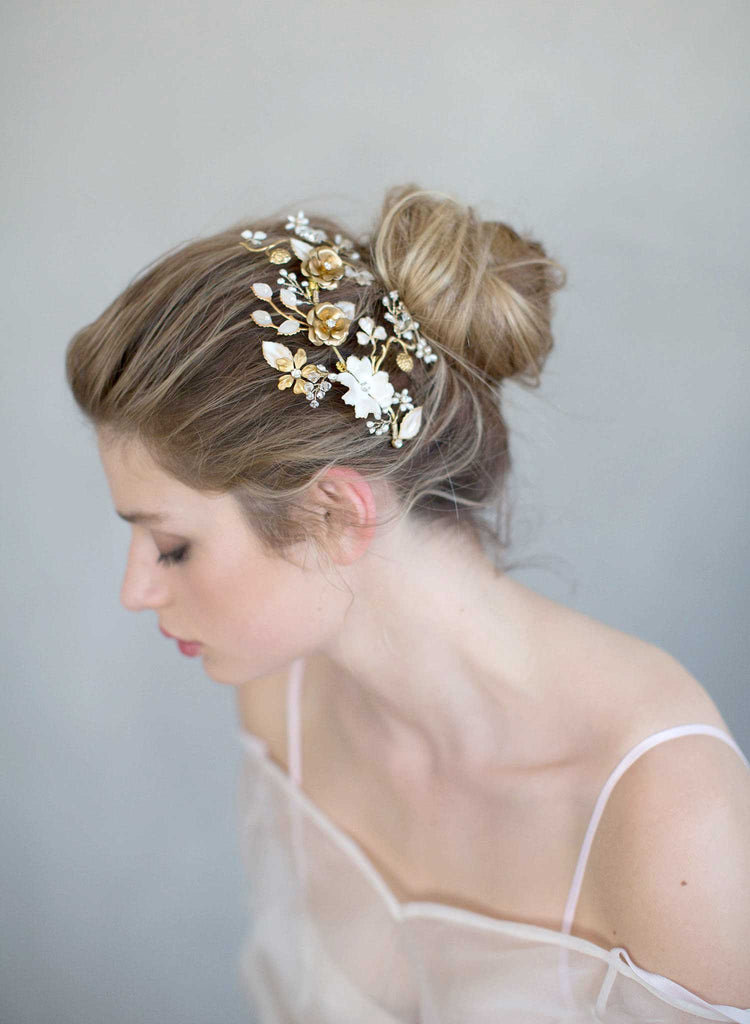 brass and floral headpiece, bridal headpiece, nature inspired, enamel flowers, twigs and honey