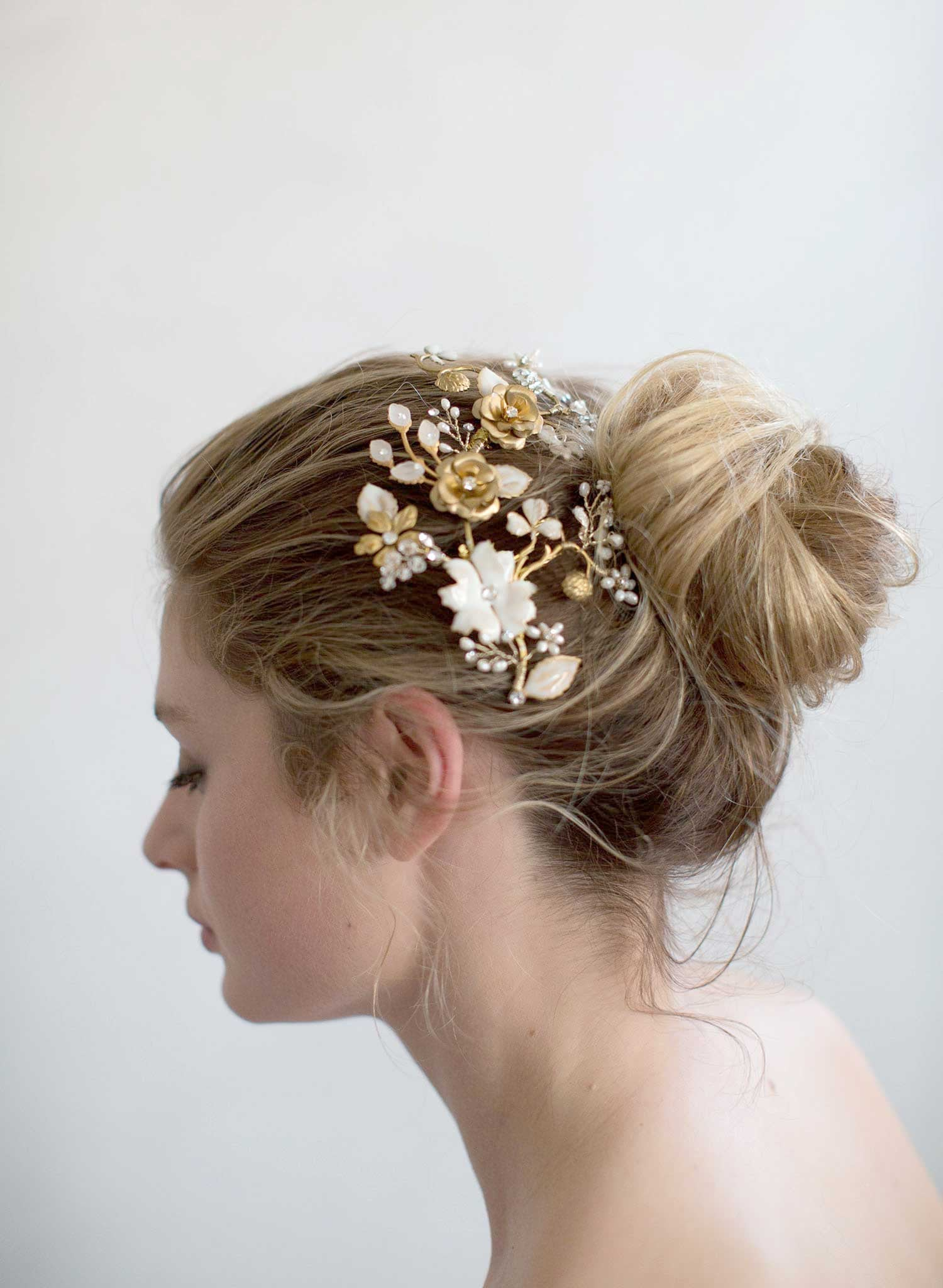 Br Bridal Headpieces Twigs And Honey -  brass and floral headpiece bridal headpiece nature inspired enamel flowers twigs and