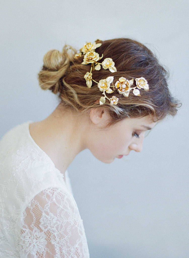 floral bridal headpiece, gold plated, hair adornment, floral inspired, twigs and honey