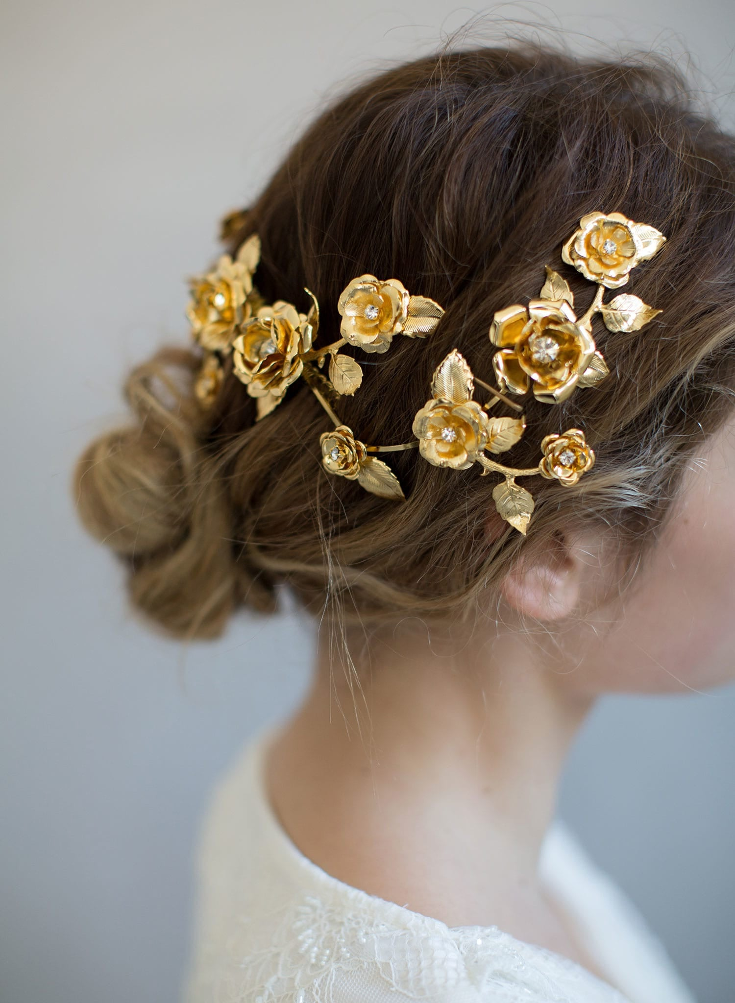 Br Bridal Headpieces Twigs And Honey -  floral bridal headpiece gold plated hair adornment floral inspired twigs and honey