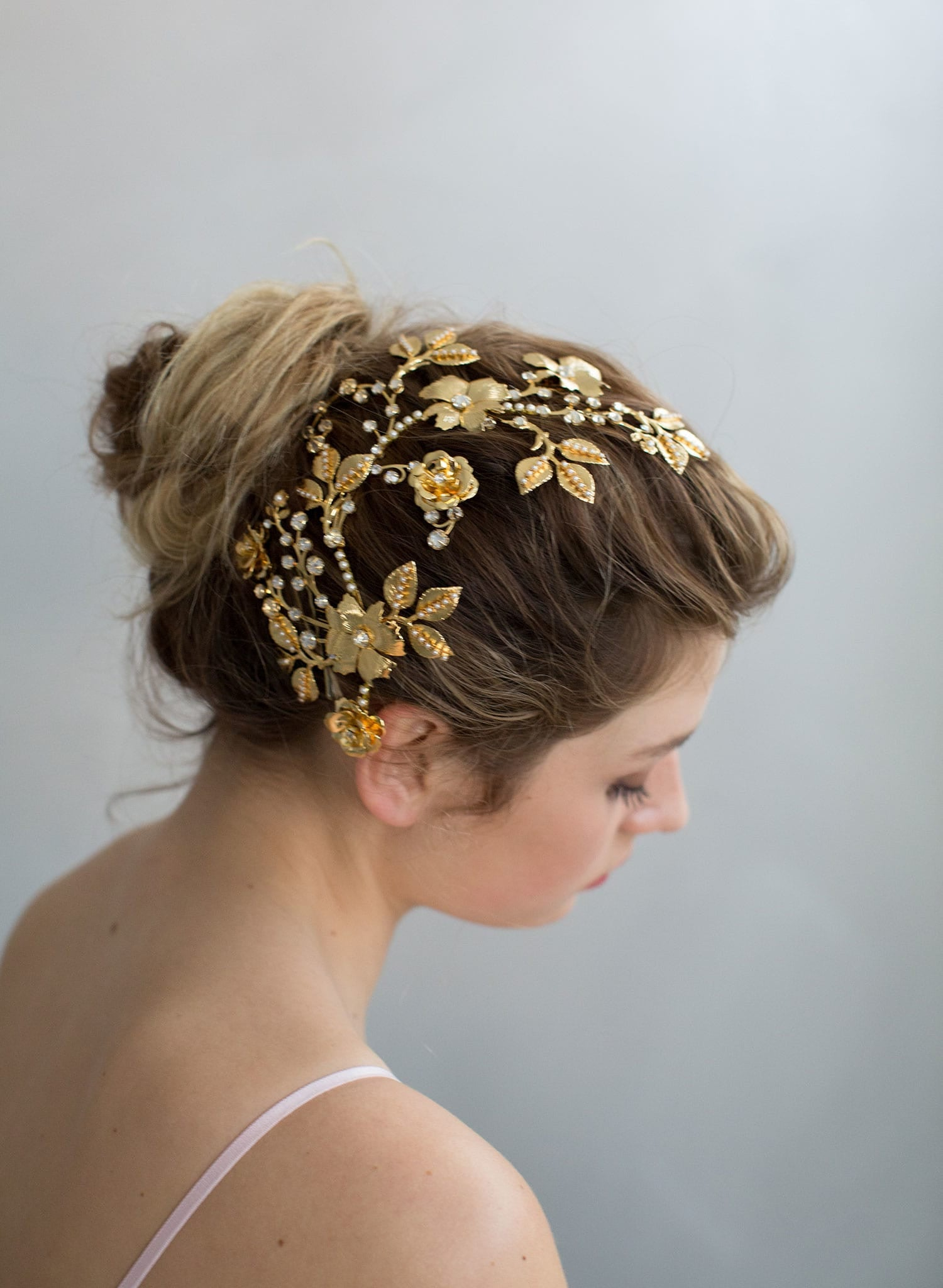 Pearly floral branches dramatic headpiece - Style #771