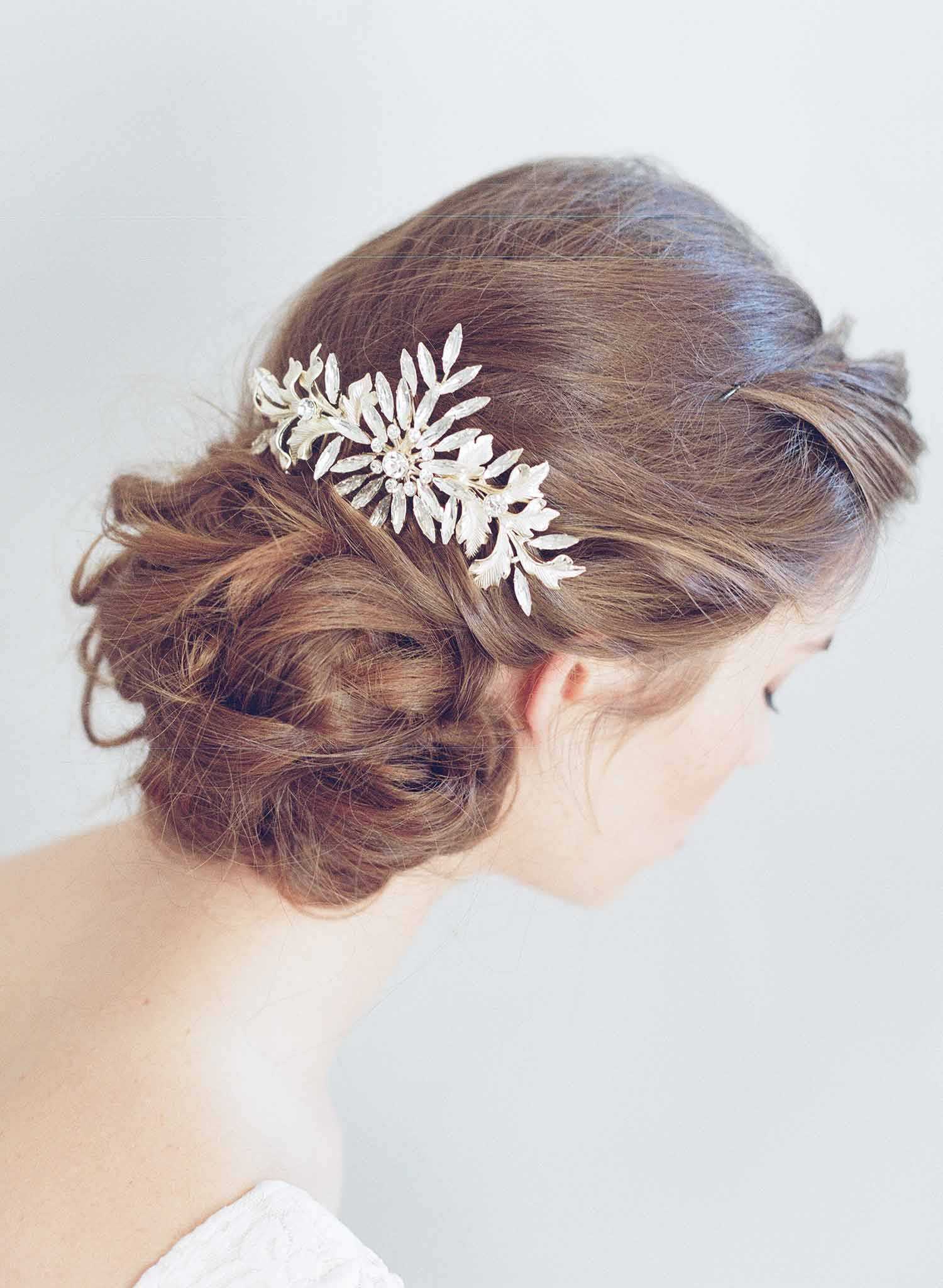 bridal hair comb, headpiece, twigs and honey