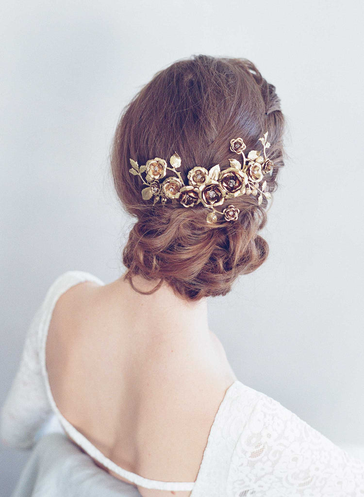 rose bridal headpiece, gold plated, antique inspired, handmade, twigs and honey