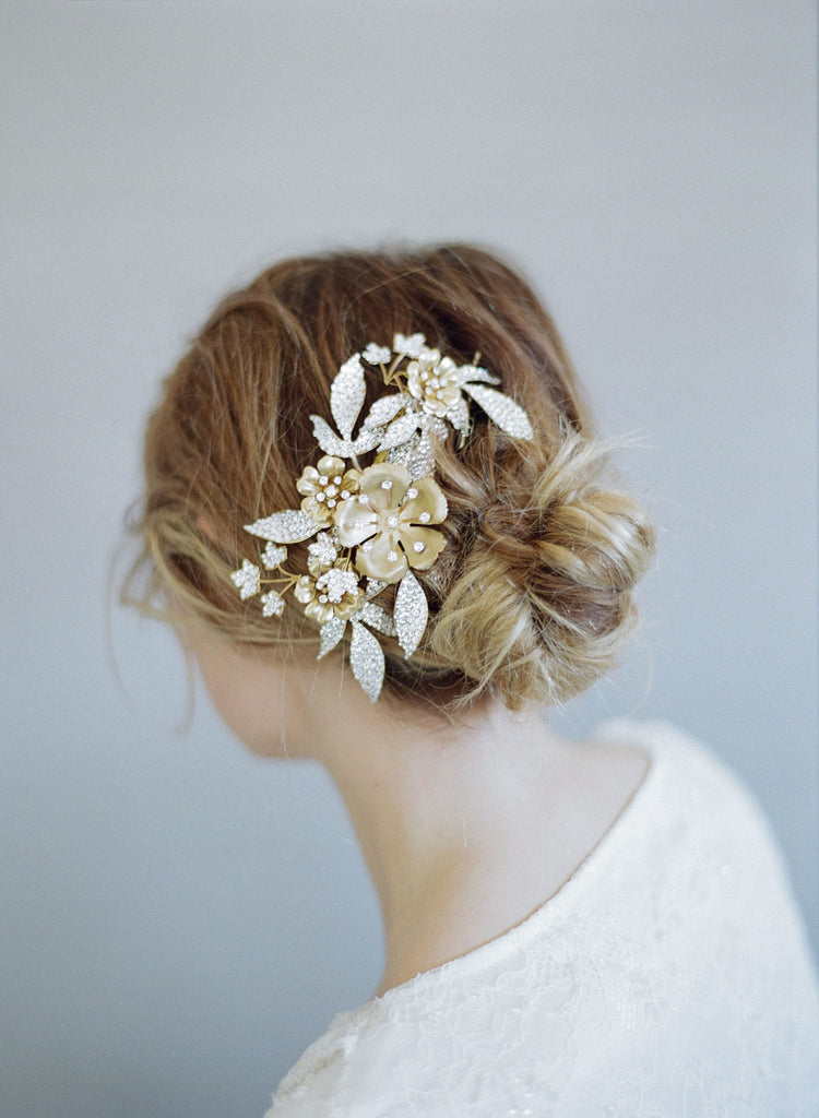 rhinestone encrusted headpiece, bridal headpiece, nature inspired, hair comb, twigs and honey