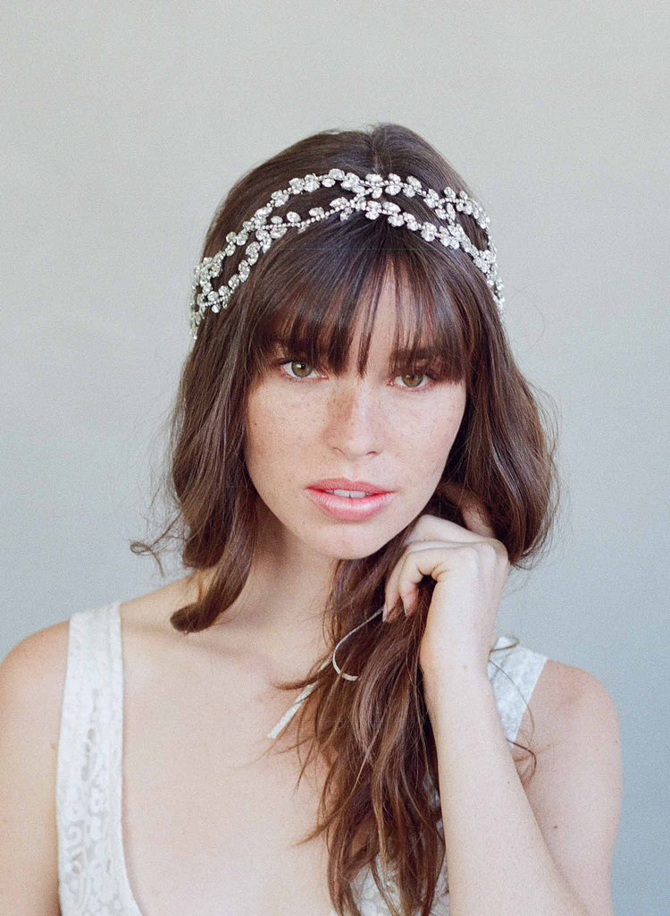 Entwined sparkling crystal strands headpiece - Style #782