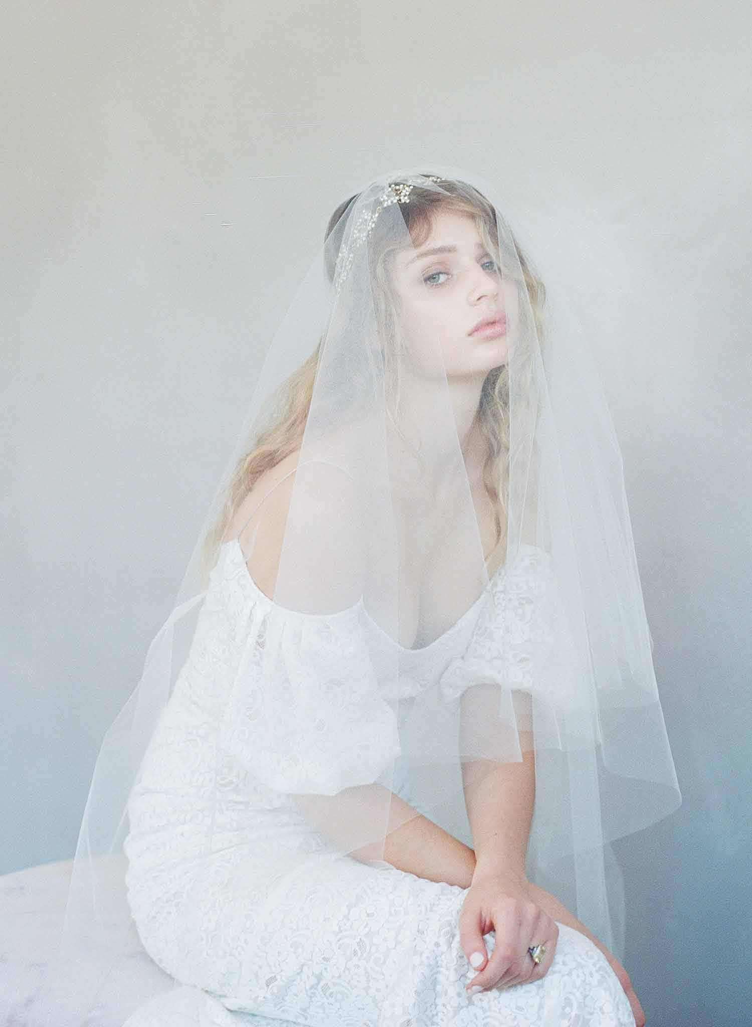 Simple subtle lift veil with blusher - Style #785