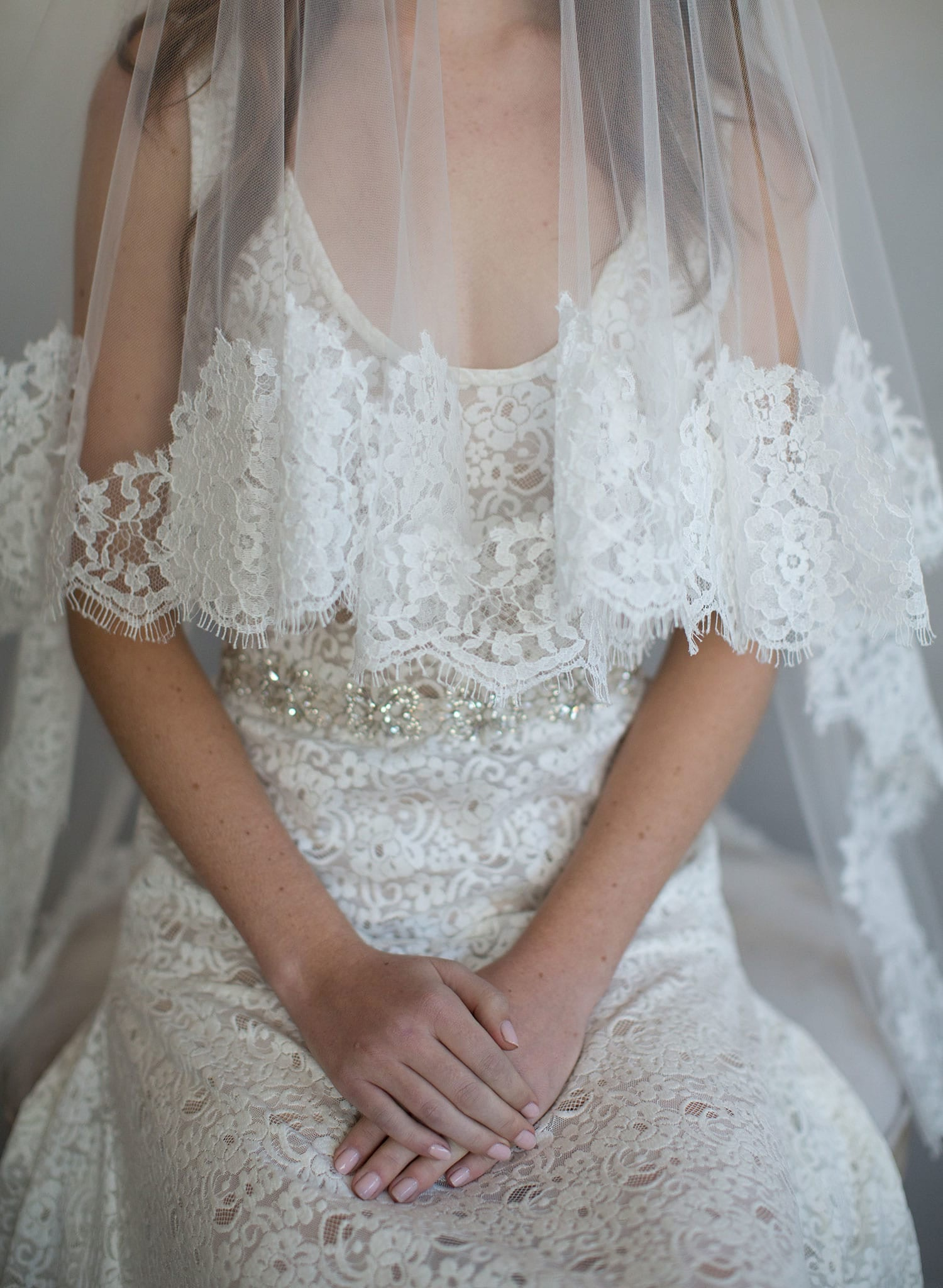 French lace simple veil with blusher - Style #787
