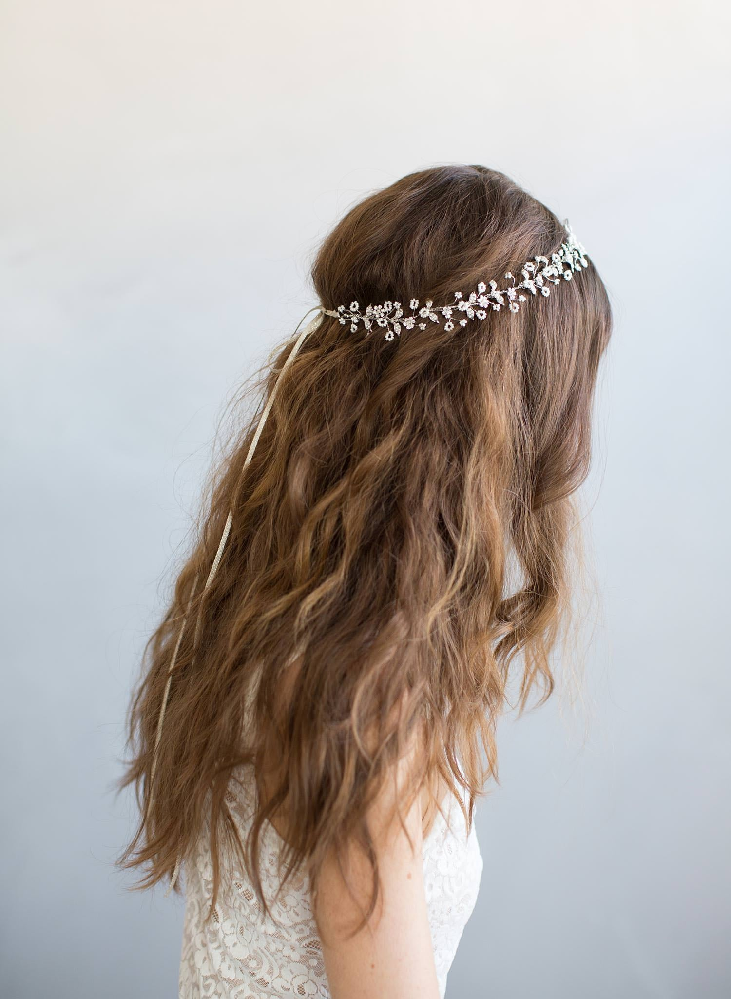 Delicate beaded flower and crystal hair vine - Style #795