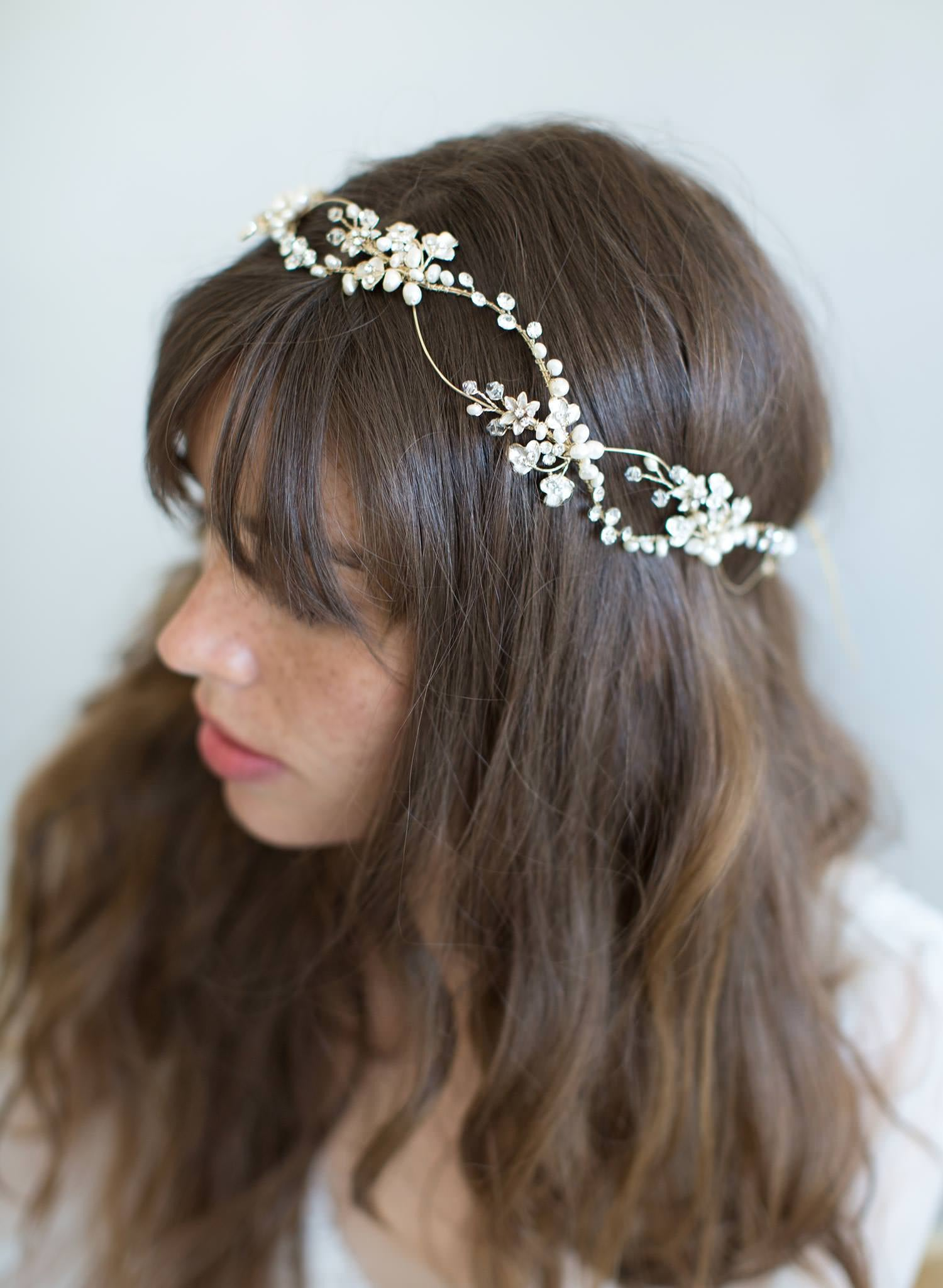Freshwater pearl infinity wave headpiece - Style #797