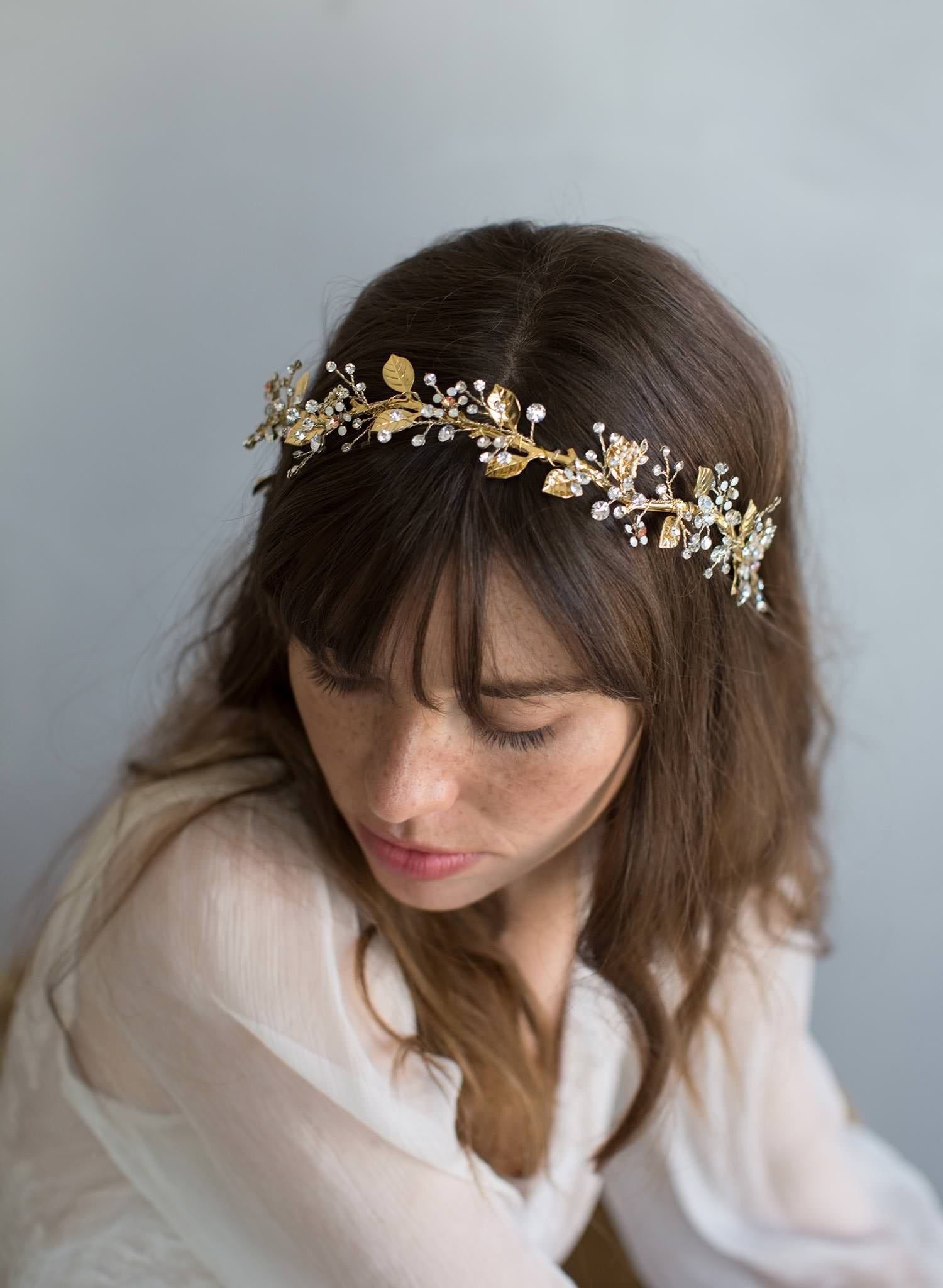 Br Bridal Headpieces Twigs And Honey -  grecian inspired gold leaf and crystal headband style 799