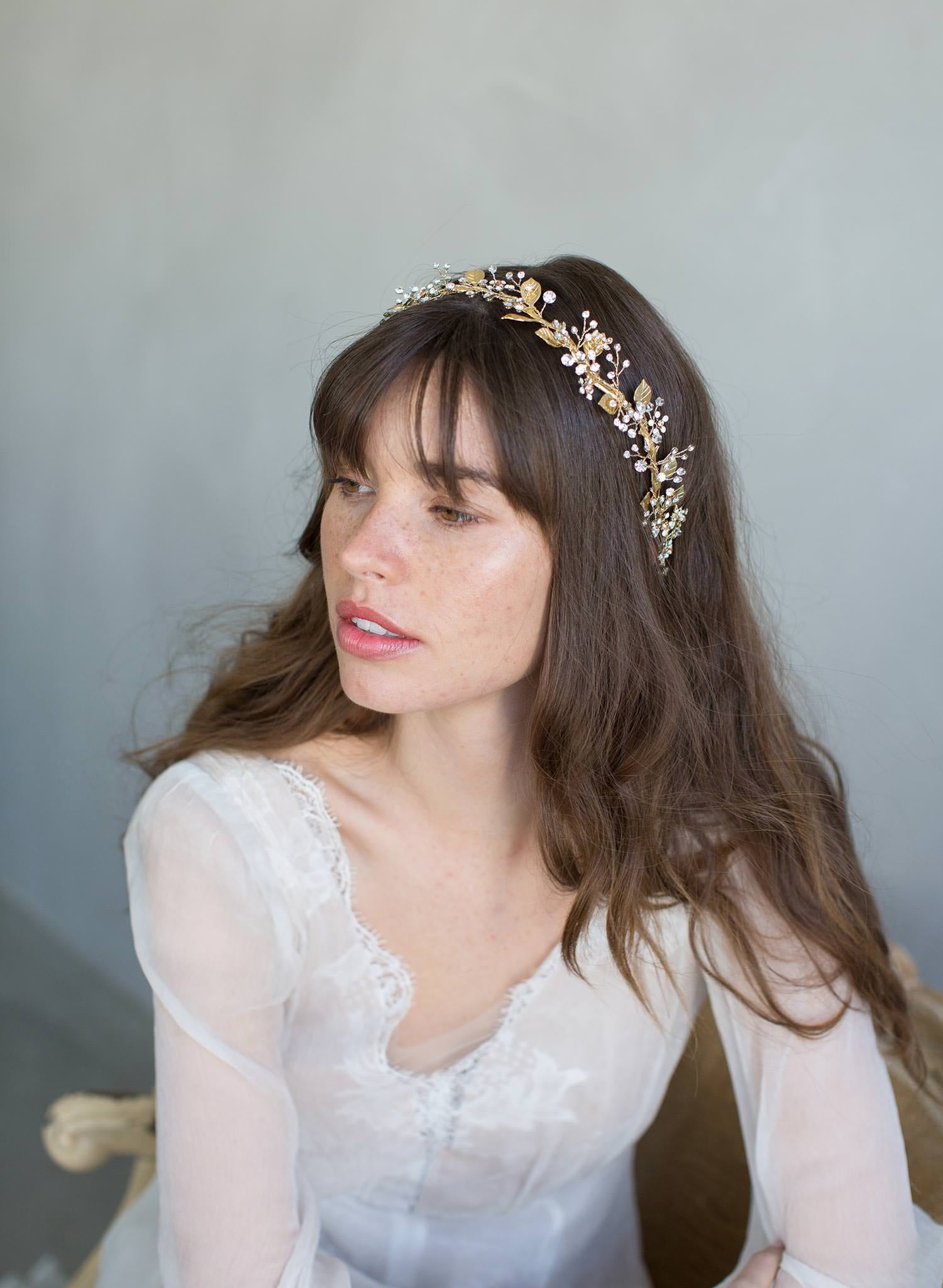 Grecian inspired gold leaf and crystal headband - Style #799