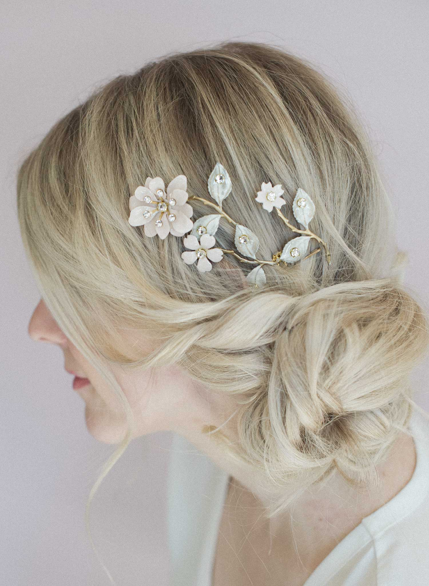 Blushing blossom branch headpiece - Style #809