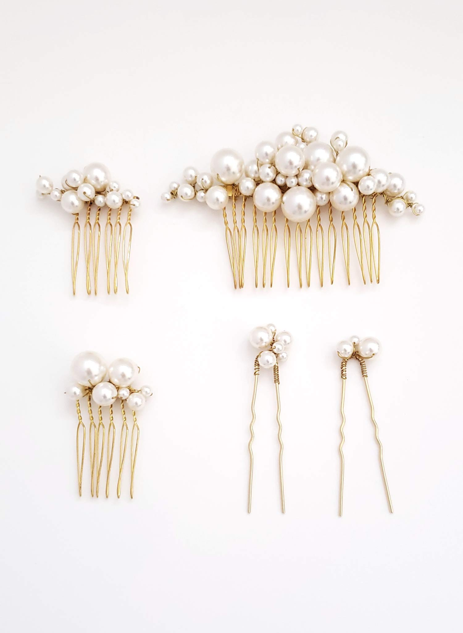 Pearl bubbles hair comb and pin set of 5 - Style #937