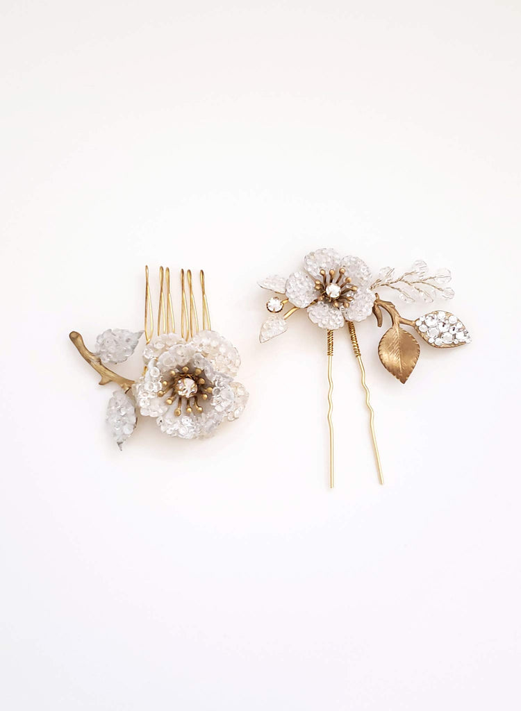 Crystal encrusted bloom comb and pin set of 2 - Style #929
