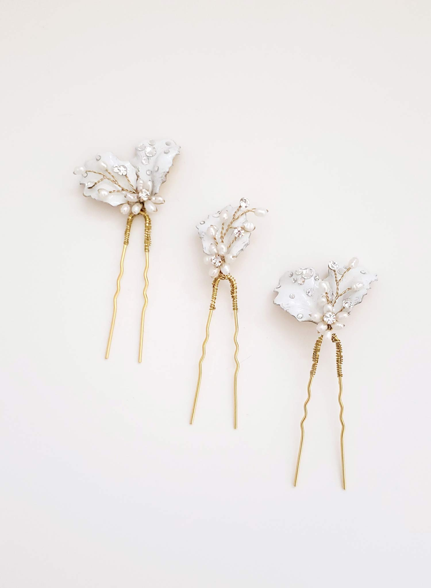 Dewdrop petal hair pin set of 3 - Style #938
