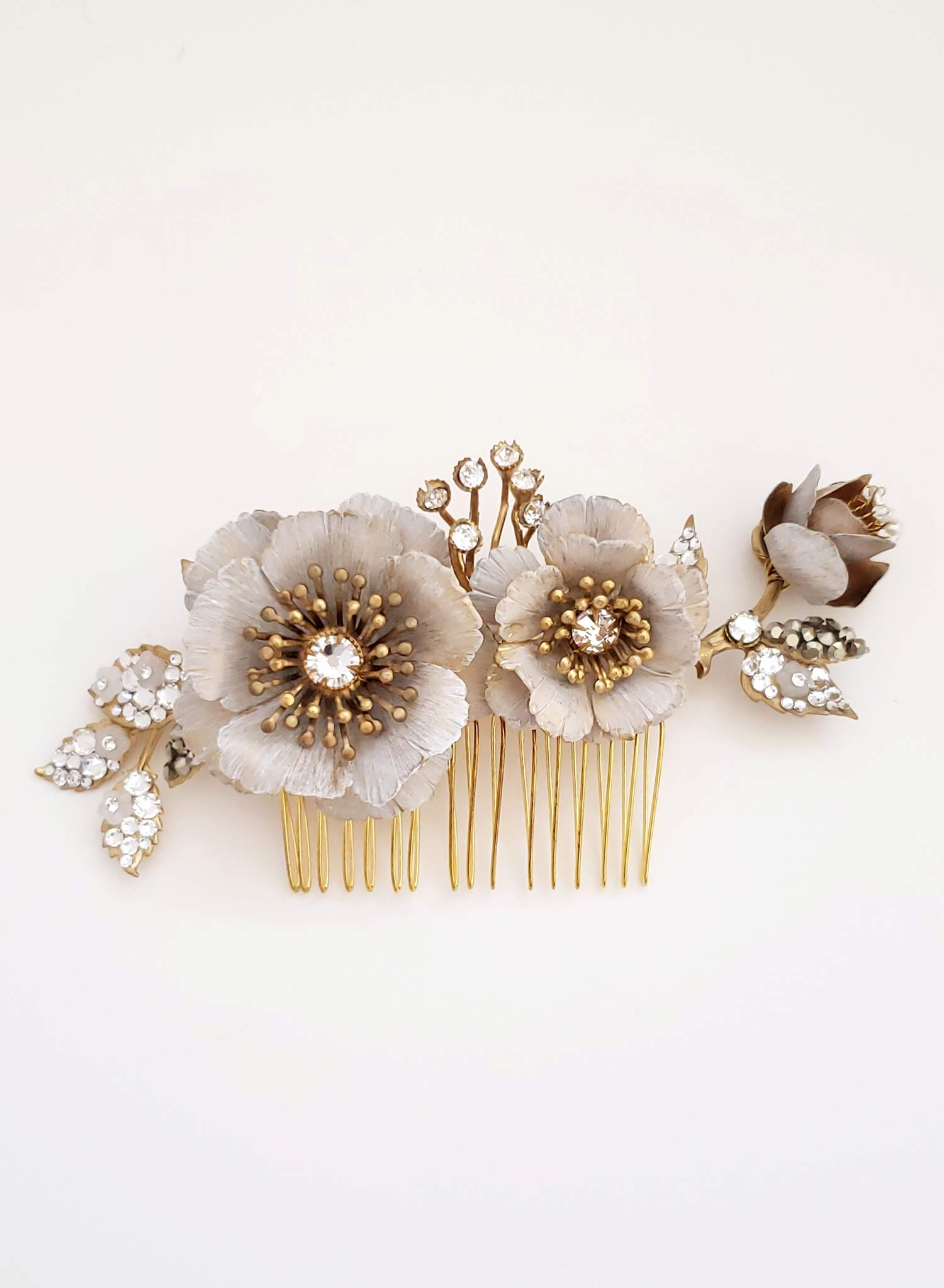 White patina flower and bud comb - Style #922