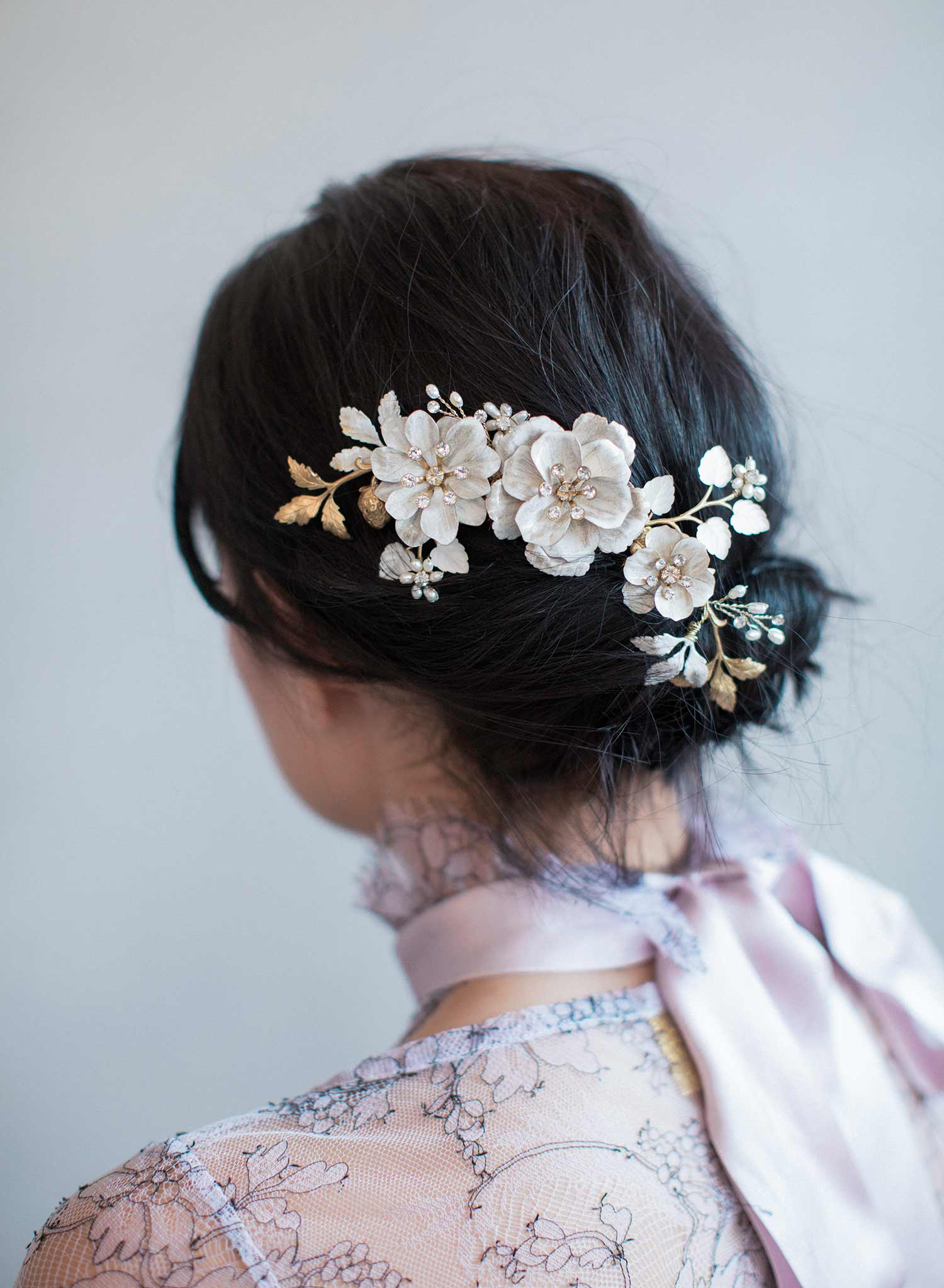 Brushed enamel floral celebration hair comb - Style #818