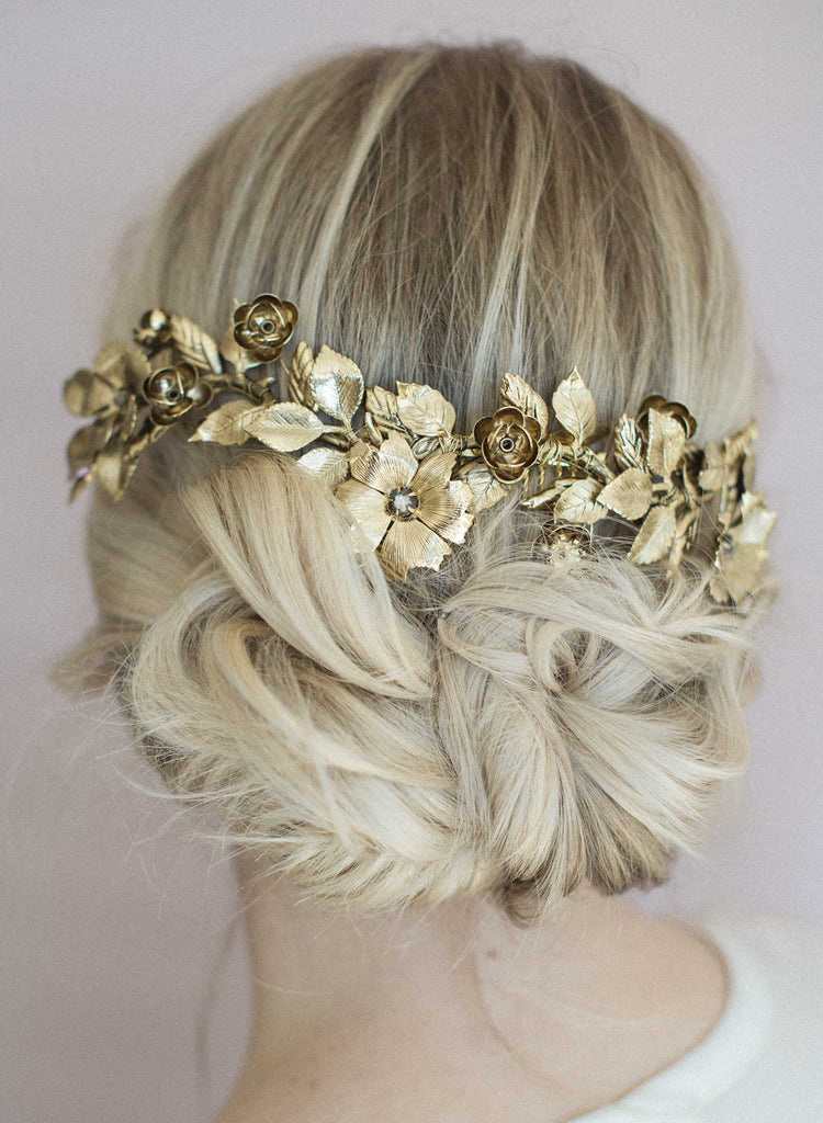 Bridal headpiece, gold leaves,  crown