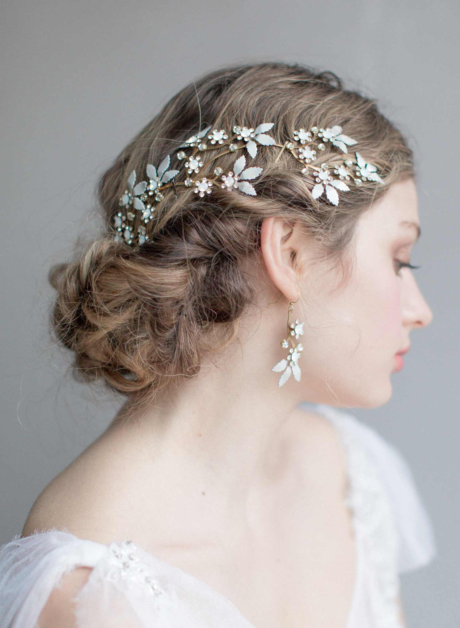 Opal crystal blossom and leaves headpiece - Style #828