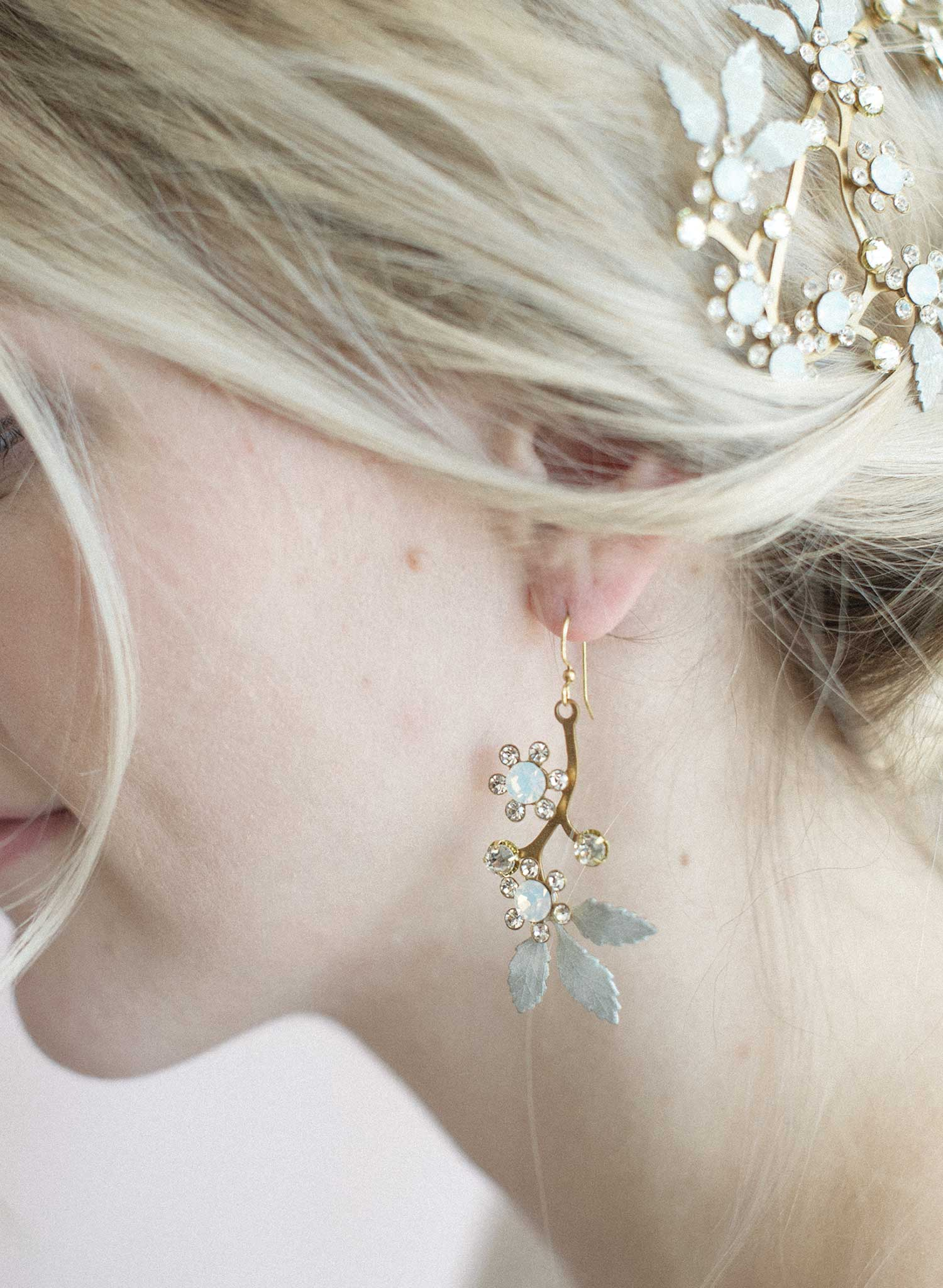 Opal crystal blossom earrings - Style #829