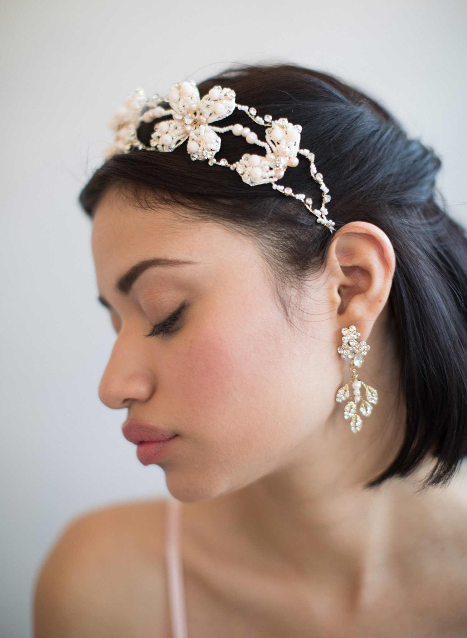 Crystal feather earrings - Style #836