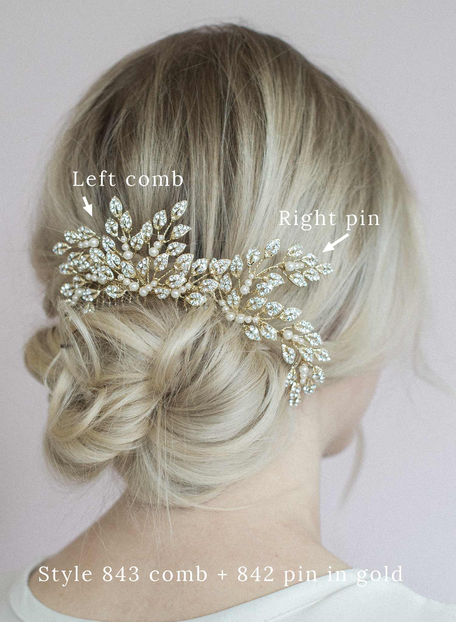 Crystal feather burst hair comb - Style #843