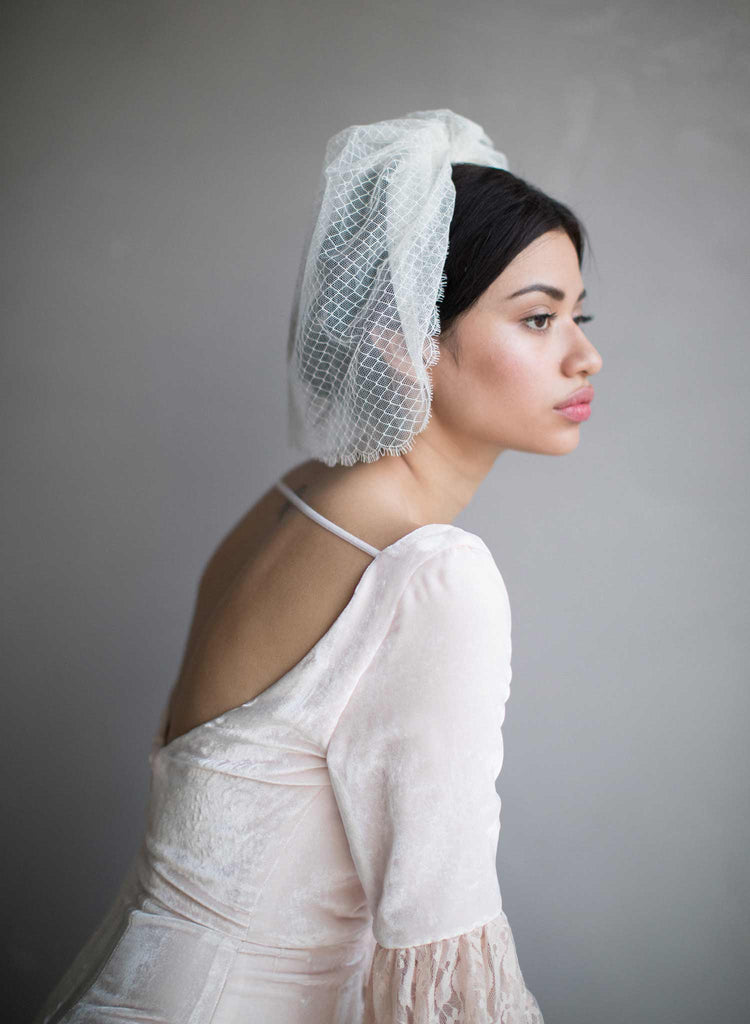 Scallop french lace birdcage veil - Style #854
