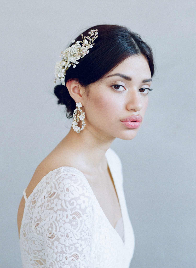 Bridal earrings, wedding jewelry, twigs and honey