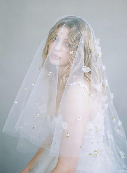 Trellis and blossom embroidered veil