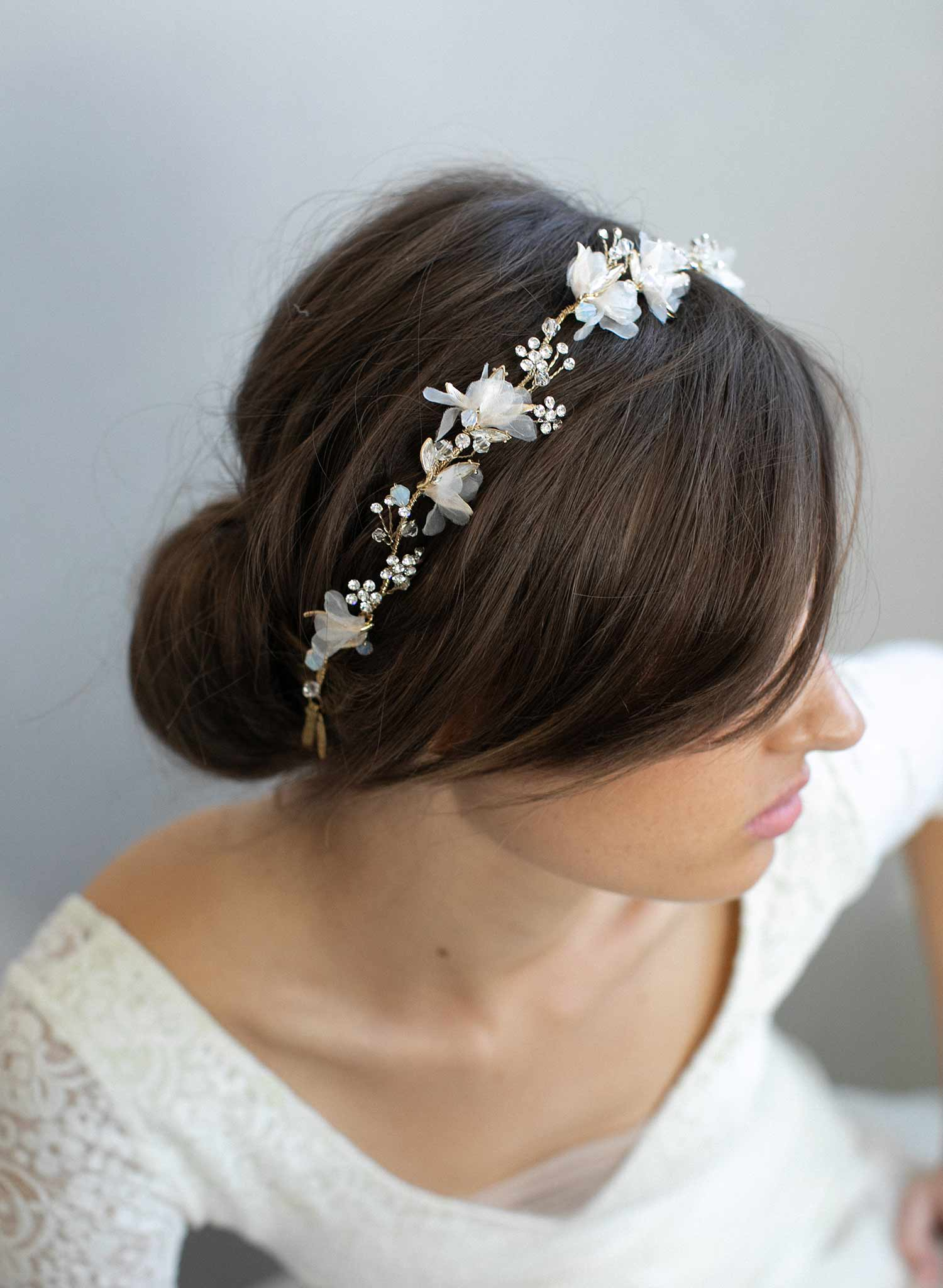 Silk Floral And Crystal Bridal Headpiece Dreamy Creamy Burst And