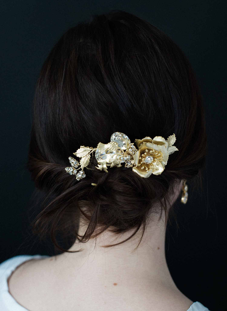 Gilded vine encircled floral comb - Style #9003