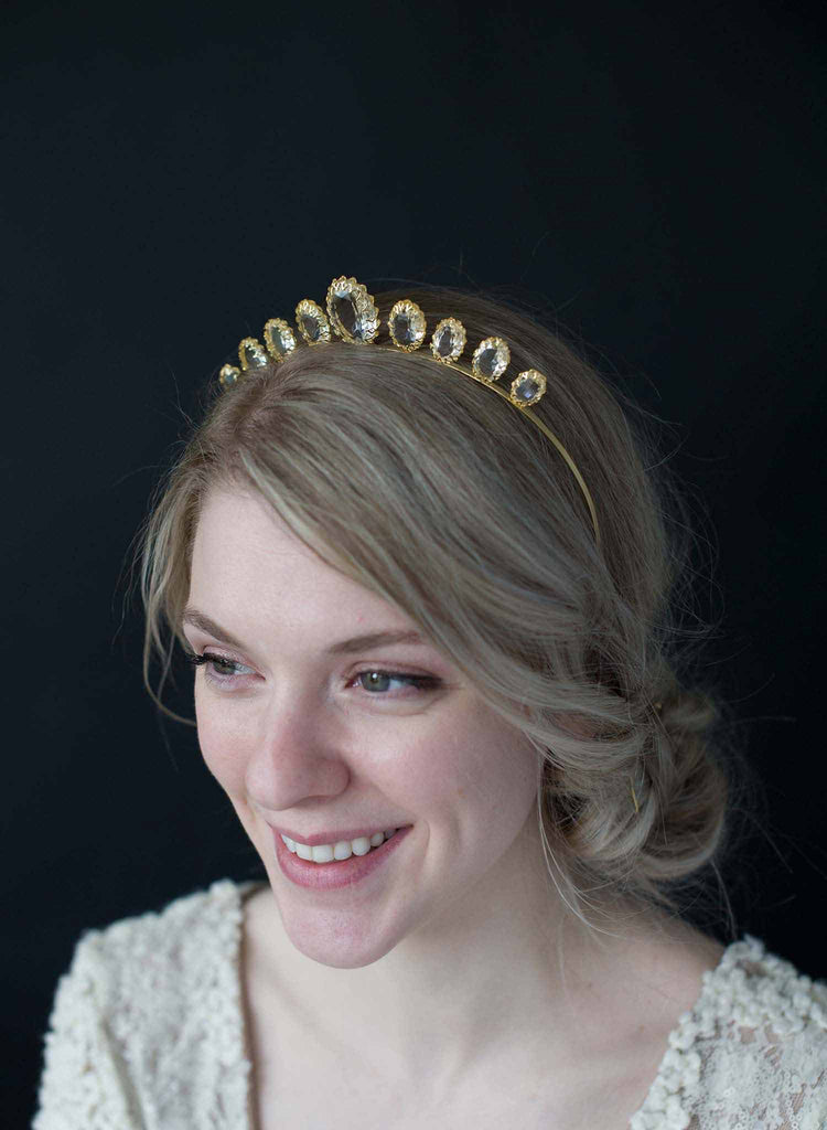 Crystal clear crown settings tiara - Style #9008