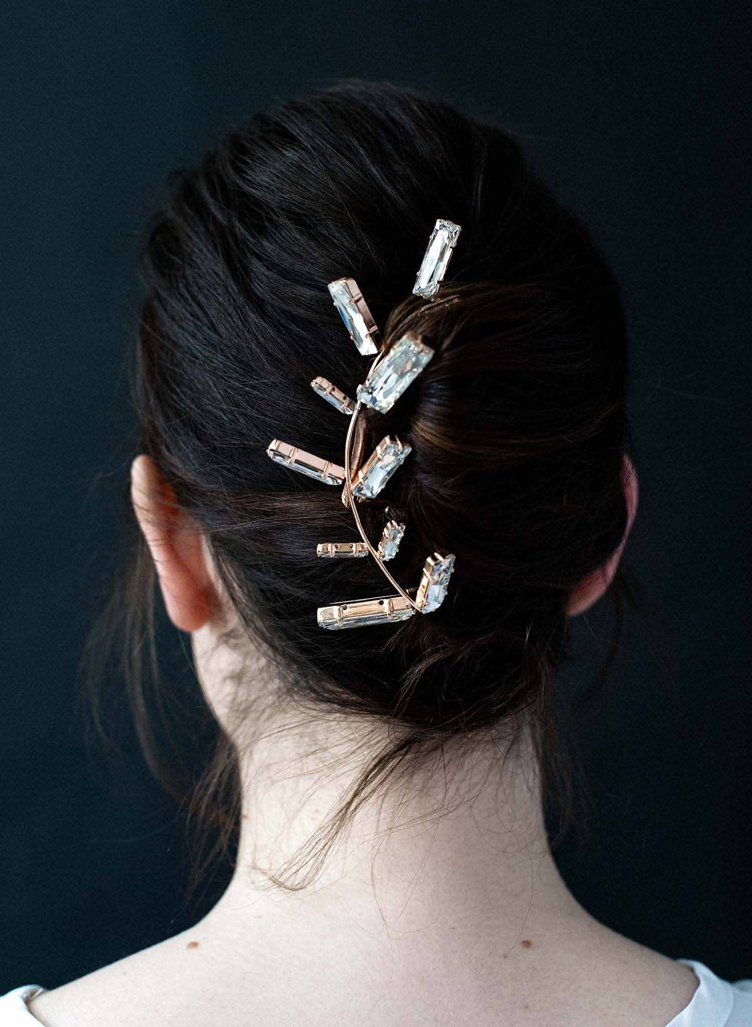 Ticker tape parade crystal hair comb - Style #9009
