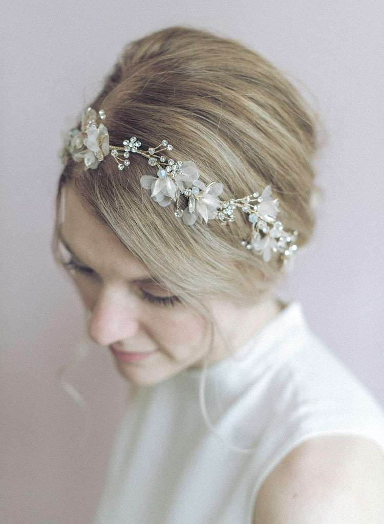 bridal hair vine, crystal and floral hair vine, silk flowers, bridal hair accessory, bridal headpiece, wedding hair accessory, twigs and honey