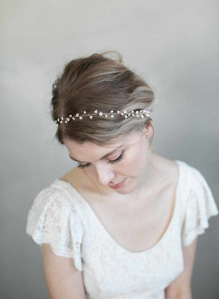 Simple and dainty bead and crystal hair vine - Style #901