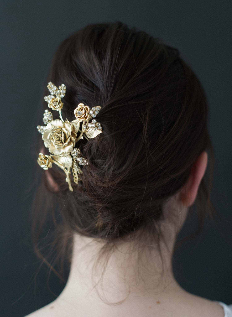 Gilded rose and crystal encrusted hair comb - Style #9010