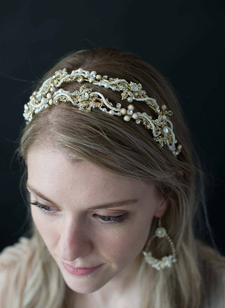 Double band crystal and pearl headband - Style #9011