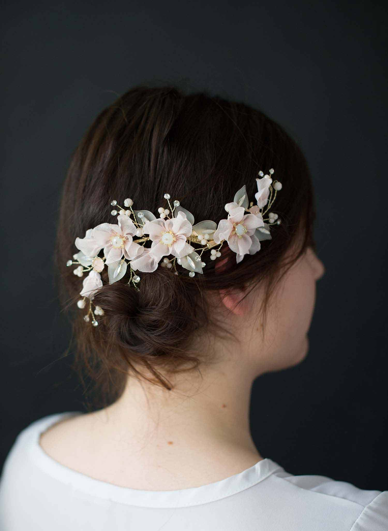 Soft cherry blossom hair clip set of 2  - Style #9014