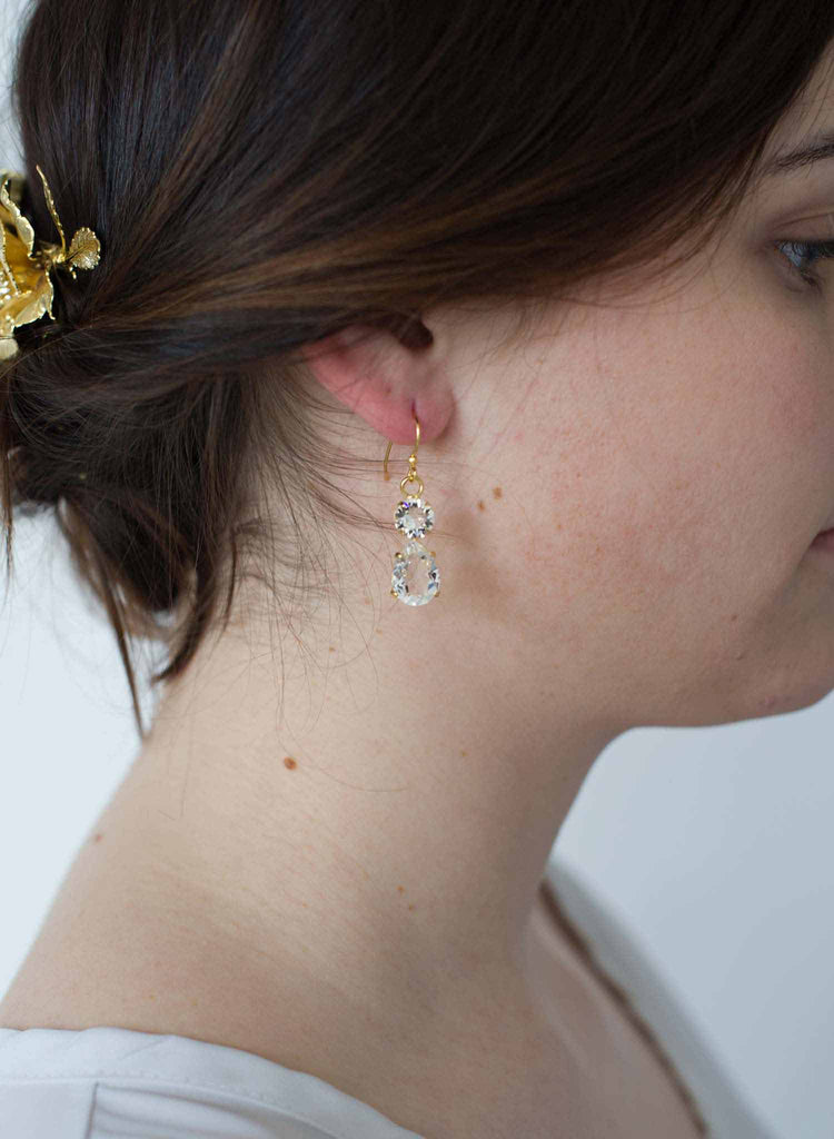 Simple crystal pear drop earrings  - Style #9015