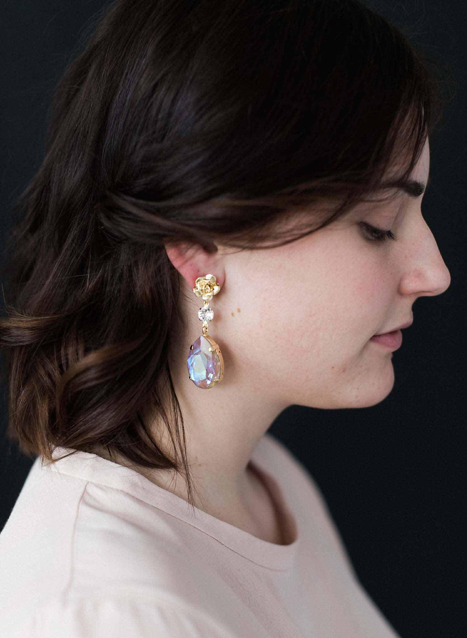 Oversized pear and rose bud earrings  - Style #9016