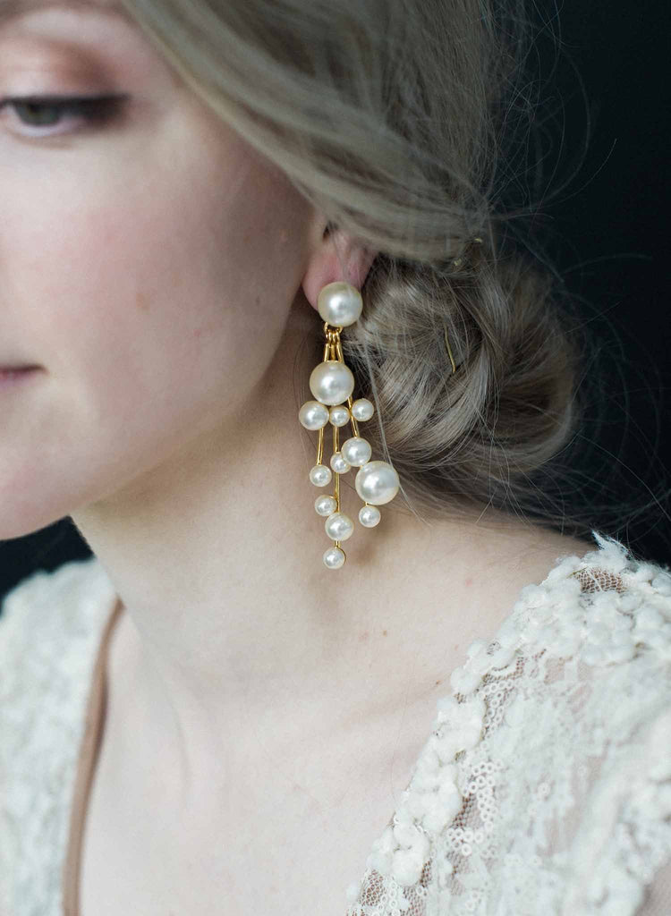 Pearl Waterfall earrings   - Style #9018