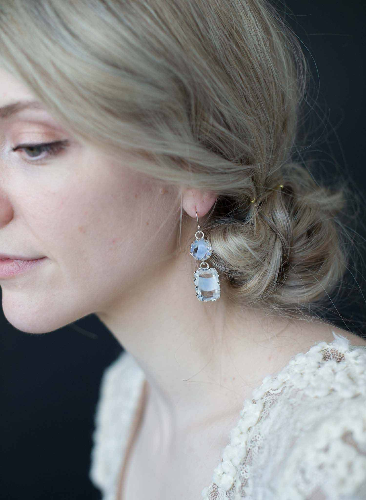 Pale blue vintage crown setting earrings   - Style #9019