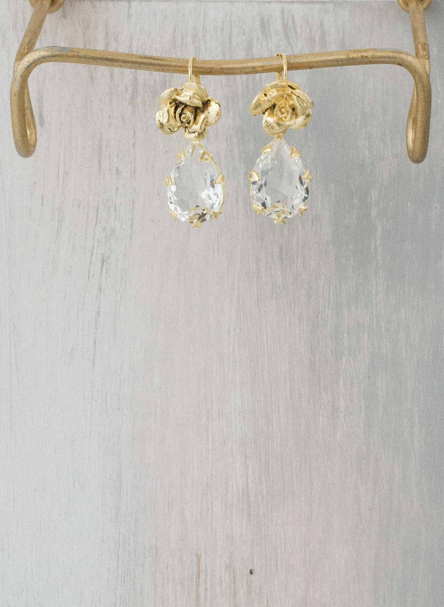 Crystal clear pear and rose drop earrings  - Style #9021