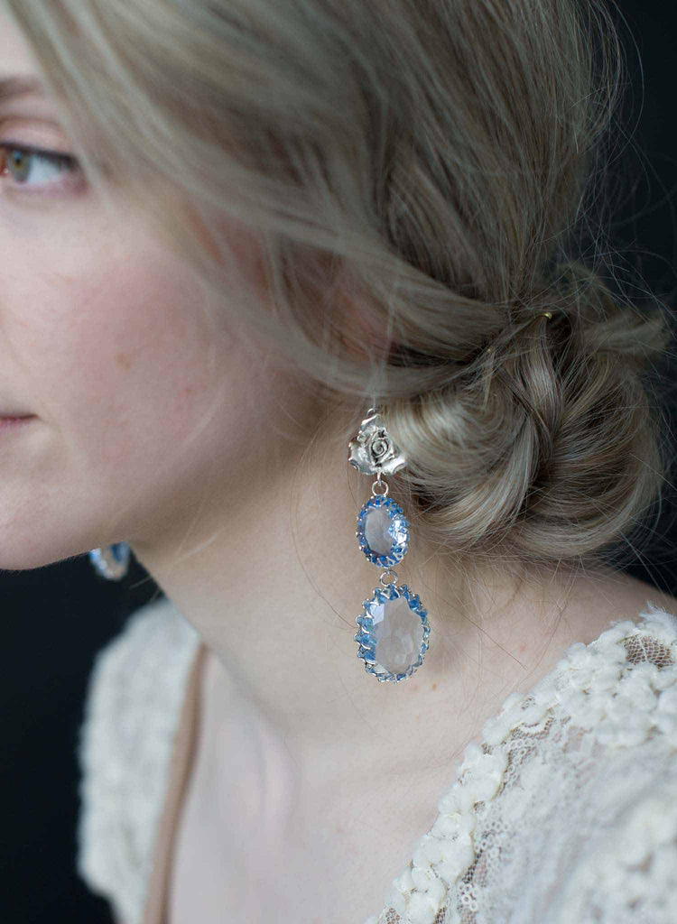 Sapphire vintage crown and rose earrings - Style #9022