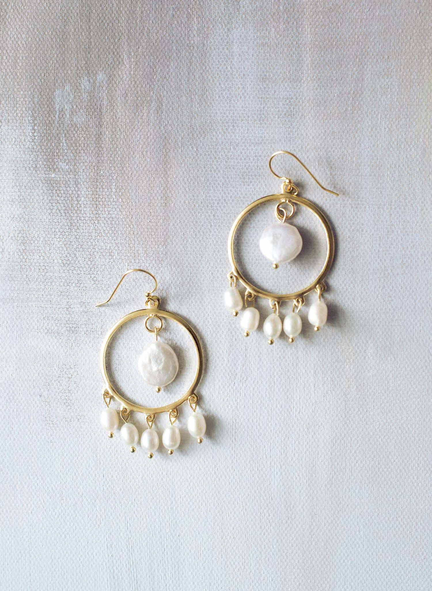 Festive pearl circle earrings - Style #9023